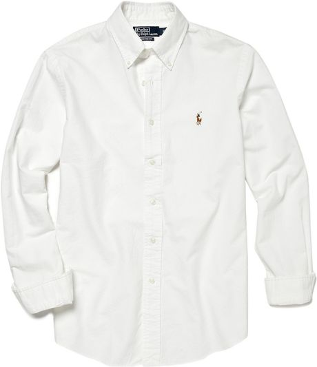 Polo Ralph Lauren Custom Fit Oxford Shirt in White for Men - Lyst