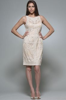 Sue Wong All Over Soutache Lace Dress in Champagne - Lyst