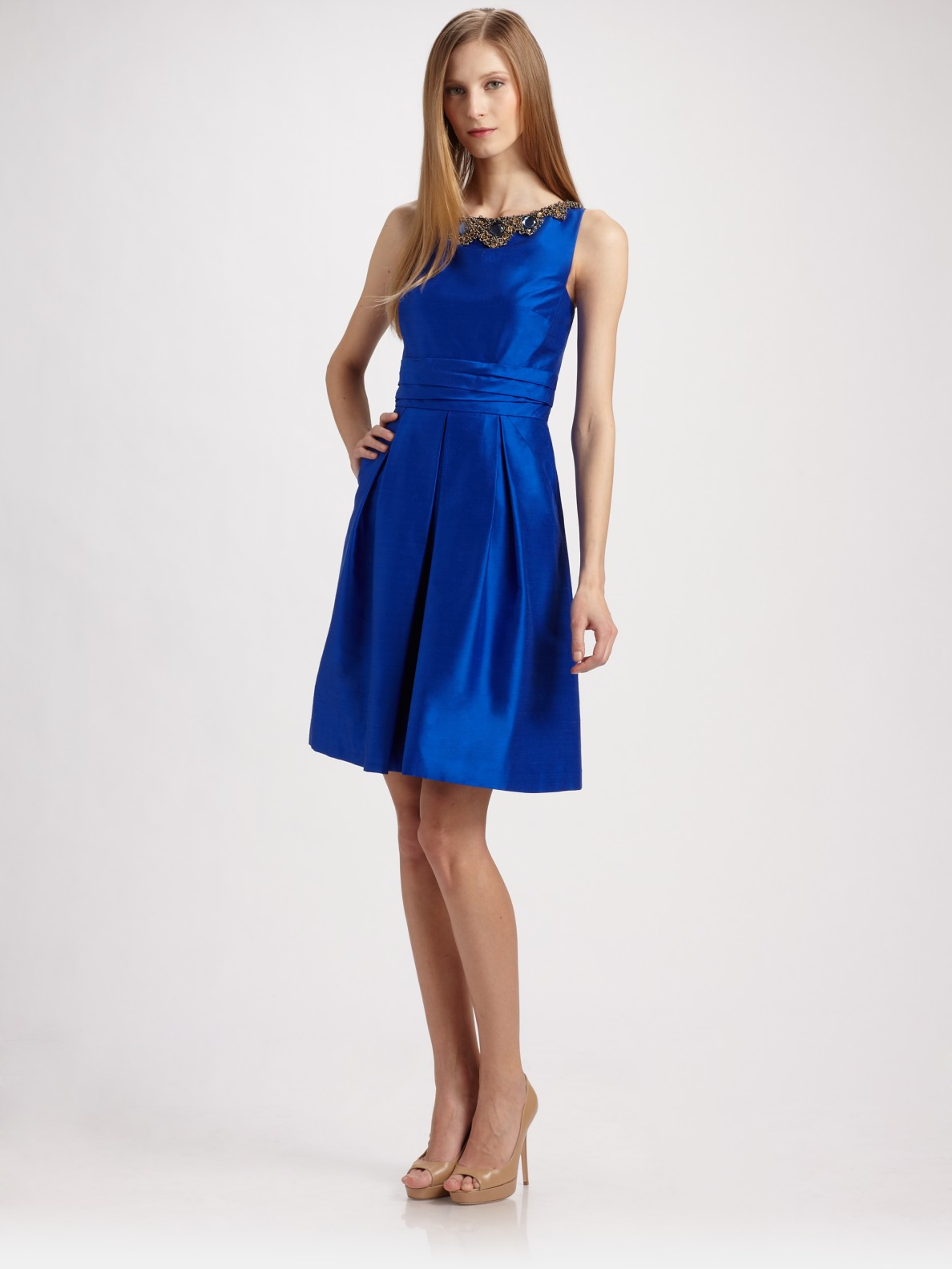 Kay Unger Jewel Neck Dress In Blue Lyst