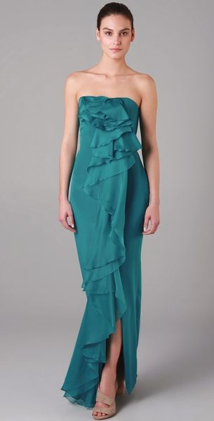 Notte By Marchesa Strapless Column Dress with Organza Cascade - Lyst