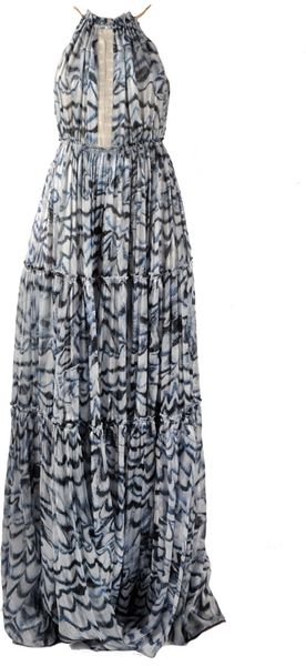 Derek Lam Snakeskin-trimmed Printed Silk Gown in Purple (indigo)