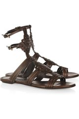 Ralph Lauren Collection Marsha Woven Leather Flat Sandals - Lyst