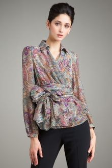 Etro Spread-collar Wrap Blouse - Lyst
