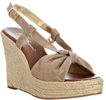 Matt Bernson Bronze Crackle Leather Bo Peep Slingback Platform Wedges - Lyst