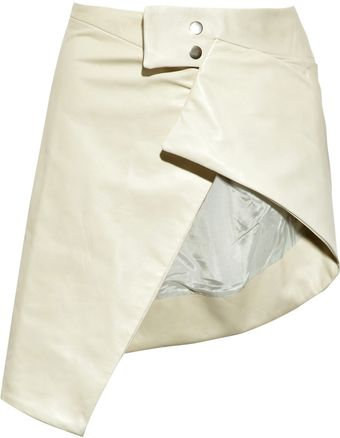 Rick Owens Asymmetric Leather Skirt - Lyst