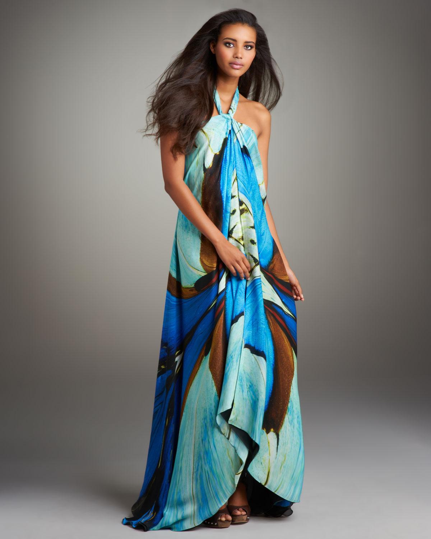 Roberto Cavalli Printed Halter Maxi Dress In Blue Lyst