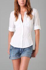 James Perse Classic Panel Linen Blouse - Lyst