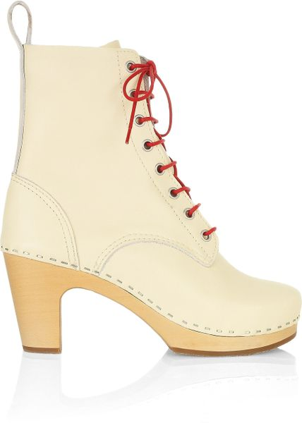 Swedish Hasbeens Grandma Leather Lace Up Boots In Beige