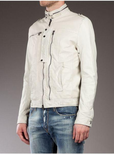 Daniele Alessandrini Leather Jacket in White for Men   Lyst