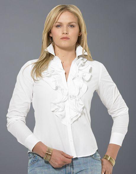 White Ruffle Blouse Plus Size 24