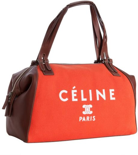Celine Poppy Canvas and Leather Logo Print Satchel in Orange (poppy)