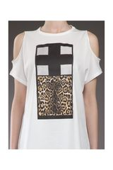 Givenchy Printed Cut Out Tshirt in White - Lyst