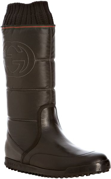 Gucci Black Quilted Nylon Rib Knit Detailed Snow Boots In Brown Black Lyst