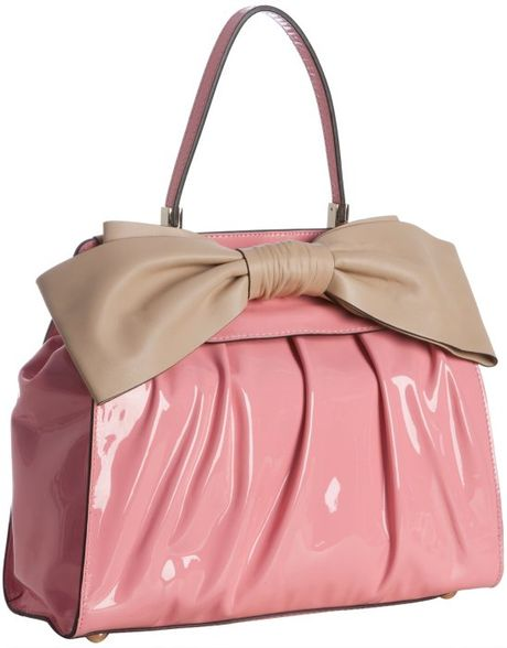 Valentino Pink Patent Leather Pleated Bow Detail Handbag ...