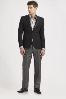 Versace Leather-trimmed Wool Blazer - Lyst