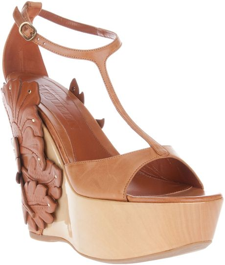 Alexander Mcqueen Appliquéd Wedge Sandal in Brown (tan) - Lyst