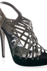 Barbara Bui Lattice-front Suede and Python Sandals - Lyst
