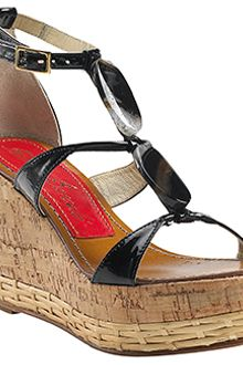 Paloma Barceló Vaini - Black Patent Leather Cork Wedge Sandal - Lyst