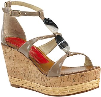 Paloma Barceló Vaini - Taupe Patent Leather Cork Wedge Sandal - Lyst