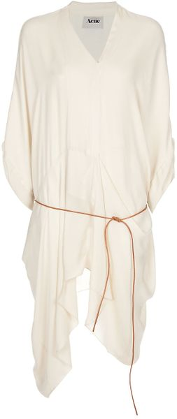 Acne Studios Dolphin Draped Silk Wrap Dress in Beige (cream)