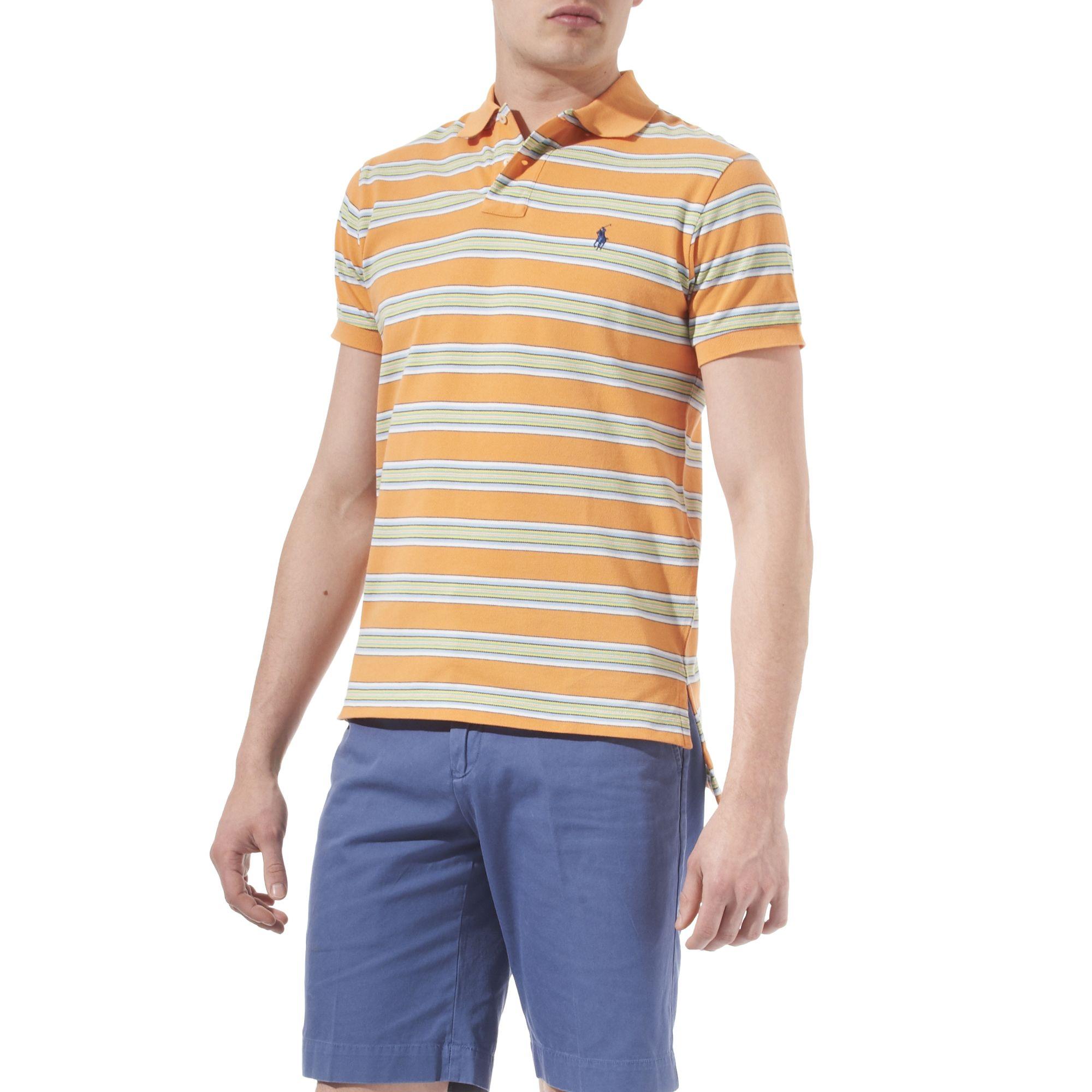 Ralph lauren horizontal striped polo shirt in multicolor for Horizontal striped dress shirts men
