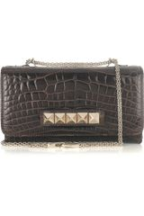 Valentino Va Va Voom Crocodile Shoulder Bag in Brown - Lyst
