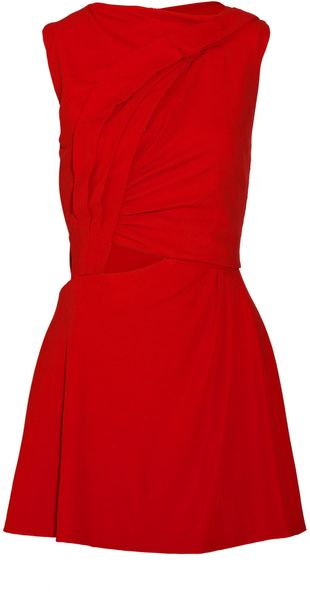 Halston Cutout Crepe Mini Dress - Lyst