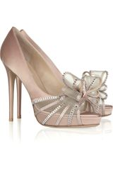 Valentino Bow-embellished Satin Sandals - Lyst