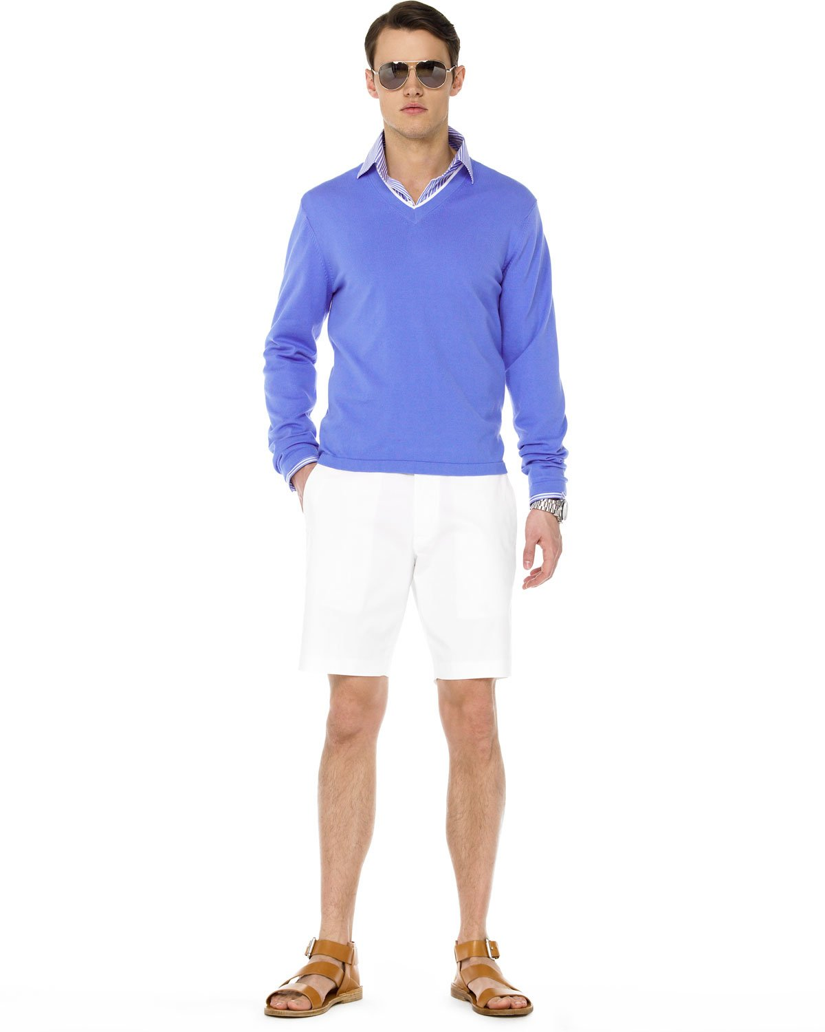 michael kors tipped cotton sweater in blue for men lyst. Black Bedroom Furniture Sets. Home Design Ideas