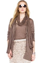 Michael Kors Michael Skinny Scarf Long Boyfriend Cardigan Ruffle Skirt in Brown - Lyst