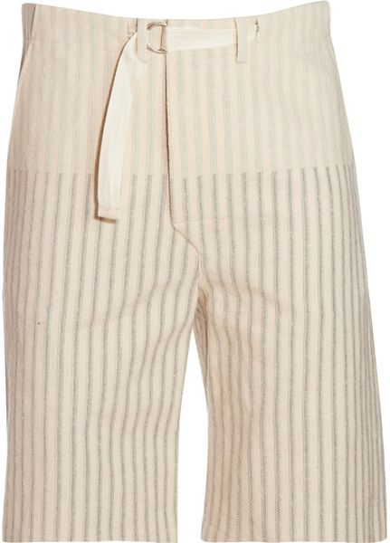 Alexander Mcqueen Striped Shorts in Beige for Men (blue) - Lyst