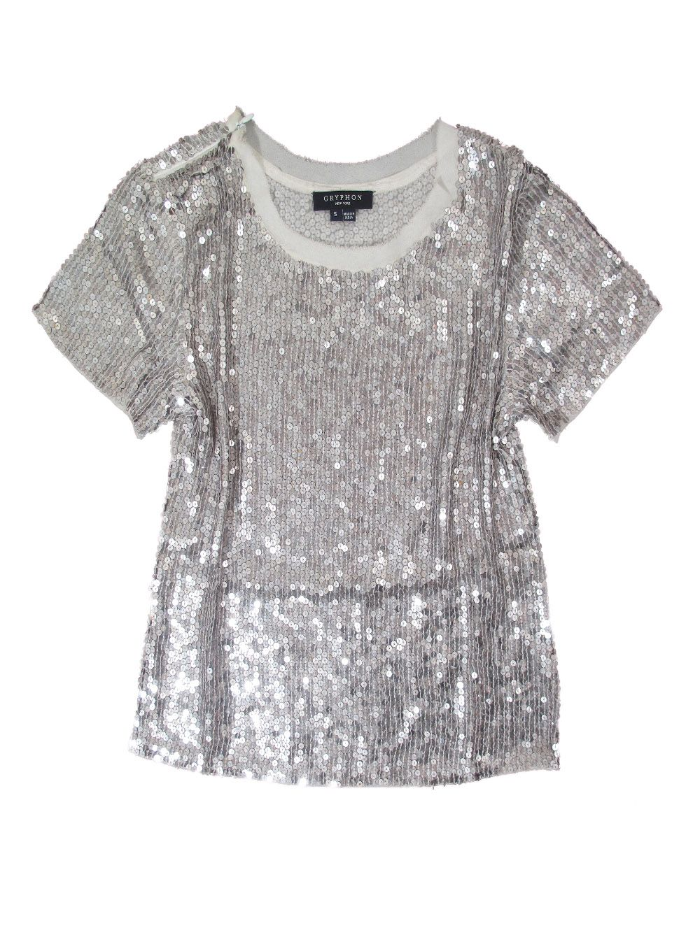 gryphon sequin t shirt in silver lyst. Black Bedroom Furniture Sets. Home Design Ideas