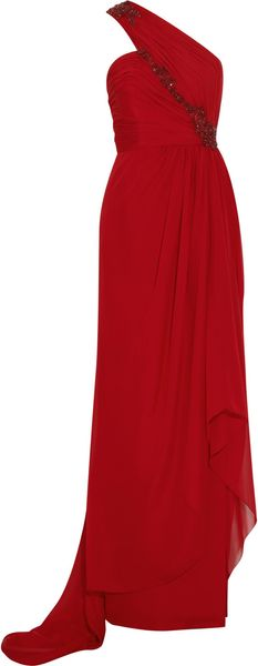 Marchesa Asymmetric Silkchiffon Gown in Red - Lyst
