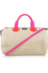 Meredith Wendell Large Leather-trimmed Raffia Duffel Bag - Lyst