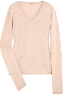 Miu Miu Cashmere and Silk-blend Sweater - Lyst