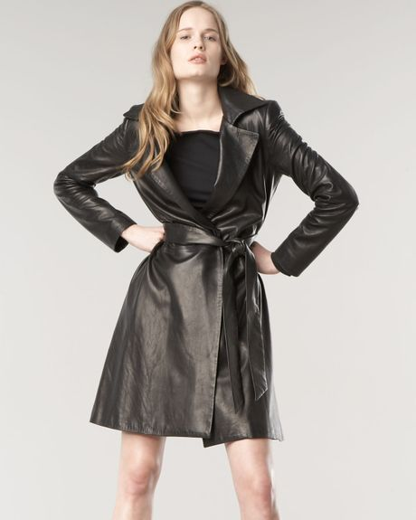 The Row Walden Leather Trench Coat in Black