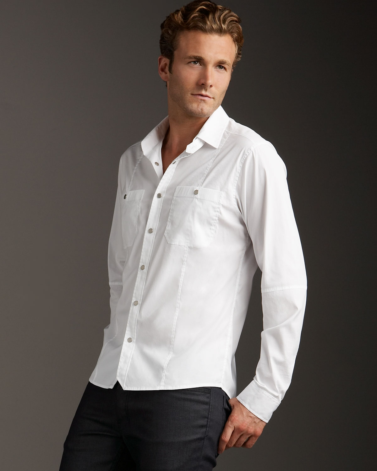 Lyst theory snap front woven shirt white in white for men for Snap tab collar shirt
