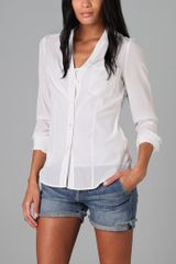 DKNY V Neck Button Down Blouse with Pocket - Lyst