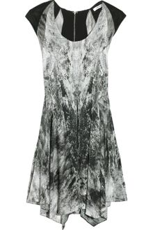 Helmut Lang Abstract-print Stretch-silk Dress - Lyst