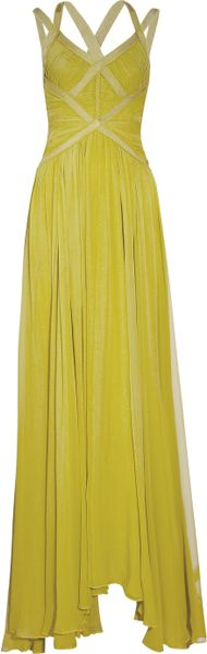 Hervé Léger Pleat-bodice Silk-chiffon Gown in Green (yellow) - Lyst