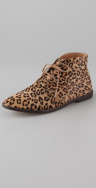 Pencey Pony Hair Flat Bootie In Brown Leopard Lyst