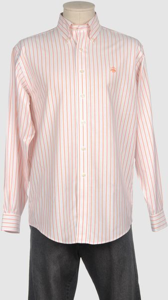 Brooks Brothers Long Sleeve Shirt in Orange for Men - Lyst