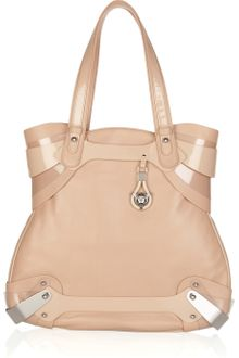 Versace Patent-trimmed Leather Tote - Lyst