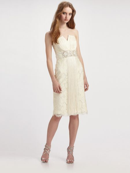Badgley Mischka Strapless Lace Cocktail Dress in White (ivory) - Lyst