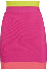 Hervé Léger Color-block High-waisted Mini Skirt