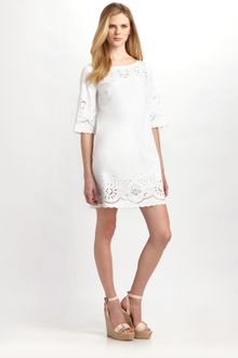 White Eyelet Dress on Dkny White Stretch Cotton Poplin One Shoulder Eyelet Dress