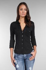 James Perse Slub 3/4 Sleeve Button Front Shirt - Lyst