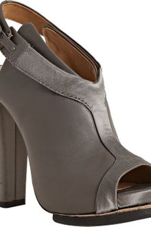 L.a.m.b. Grey Leather Luxurious Peep Toe Sandals - Lyst