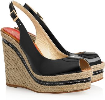 Paloma Barceló Lucy Patent-leather Espadrille Wedges - Lyst