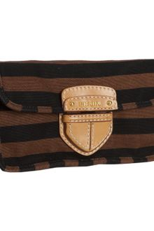 Prada Tobacco Stripe Canvas Covered Pushlock Clutch - Lyst